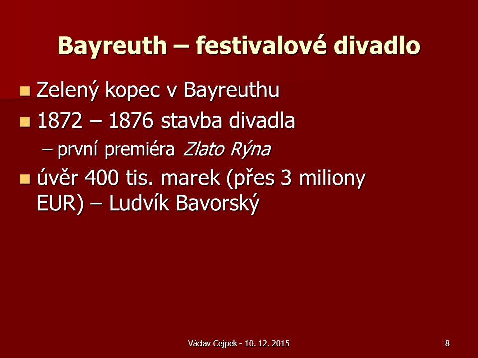 Bayreuth – festivalové divadlo Zelený kopec v Bayreuthu Zelený kopec v Bayreuthu 1872 – 1876 stavba divadla 1872 – 1876 stavba divadla –první premiéra Zlato Rýna úvěr 400 tis.