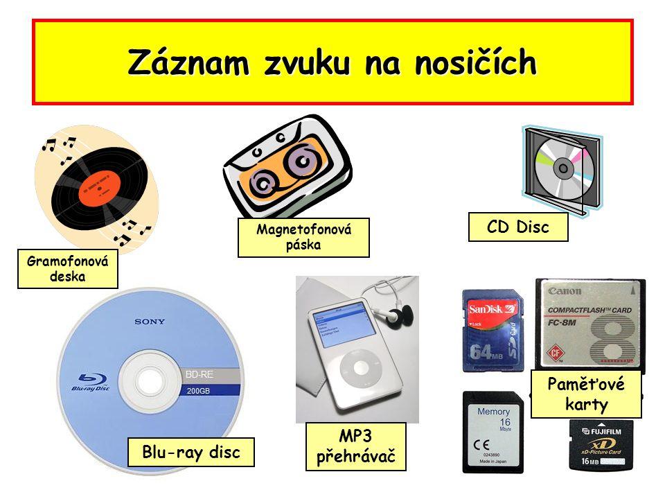 Záznam zvuku na nosičích Blu-ray disc Gramofonová deska MP3 přehrávač CD Disc Magnetofonová páska Paměťové karty