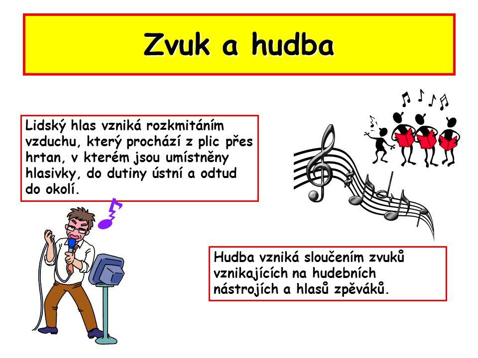 Zvuk a hudba Lidský hlas vzniká rozkmitáním vzduchu, který prochází z plic přes hrtan, v kterém jsou umístněny hlasivky, do dutiny ústní a odtud do okolí.