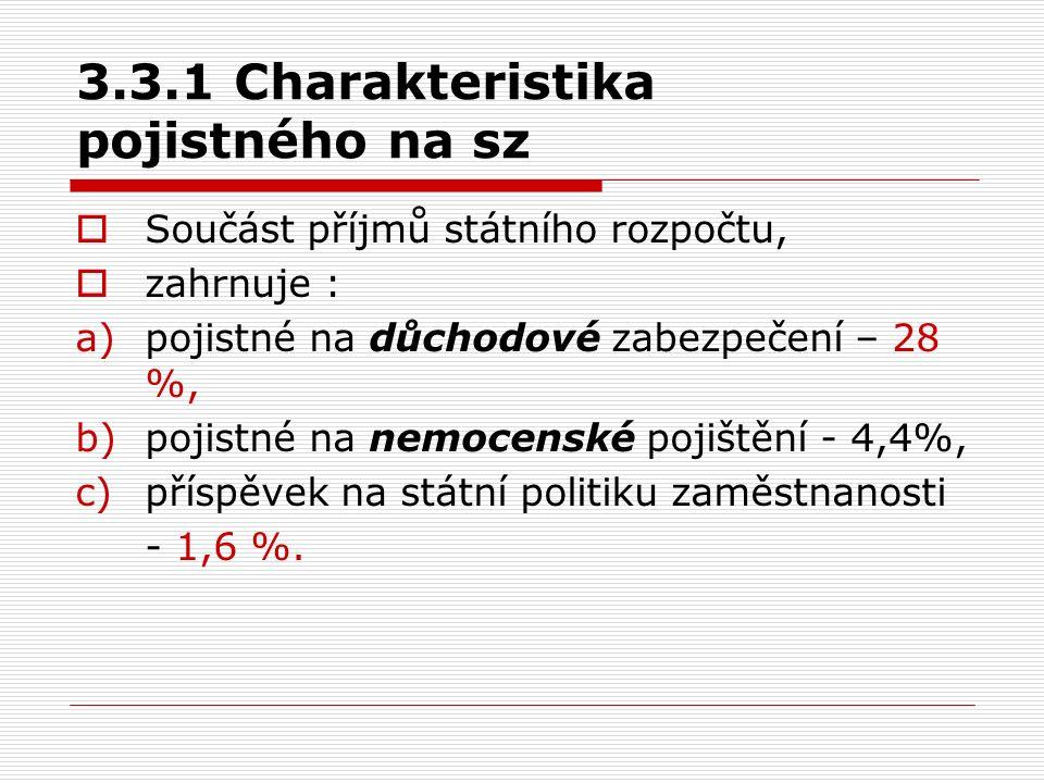 3.3.1 Charakteristika pojistného na sz  Součást příjmů státního rozpočtu,  zahrnuje : a)pojistné na důchodové zabezpečení – 28 %, b)pojistné na nemo