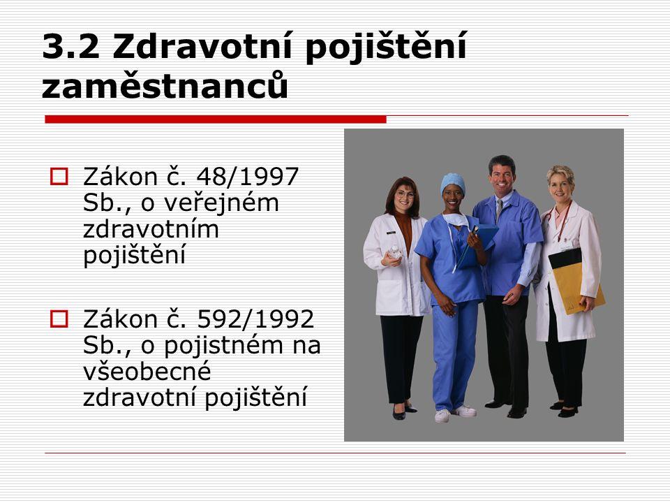 3.2 Zdravotní pojištění zaměstnanců  Zákon č. 48/1997 Sb., o veřejném zdravotním pojištění  Zákon č. 592/1992 Sb., o pojistném na všeobecné zdravotn