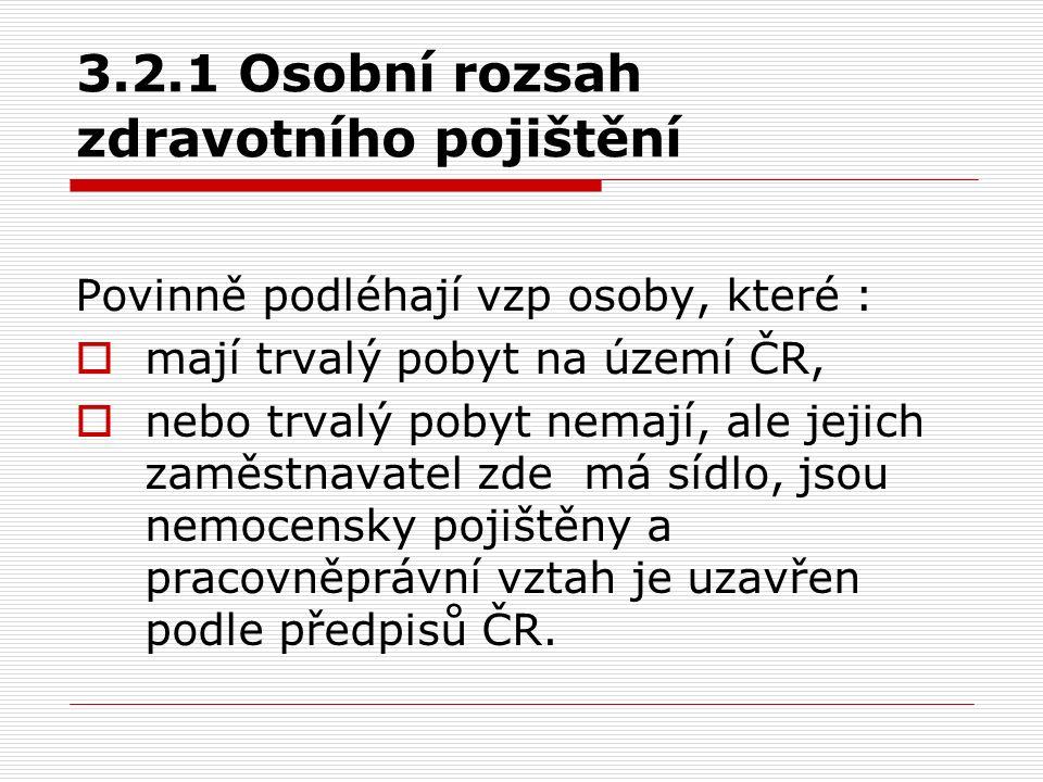 3.2.1 Osobní rozsah zdravotního pojištění Povinně podléhají vzp osoby, které :  mají trvalý pobyt na území ČR,  nebo trvalý pobyt nemají, ale jejich
