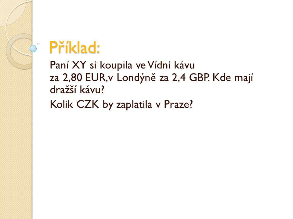 Příklad: Paní XY si koupila ve Vídni kávu za 2,80 EUR,v Londýně za 2,4 GBP.