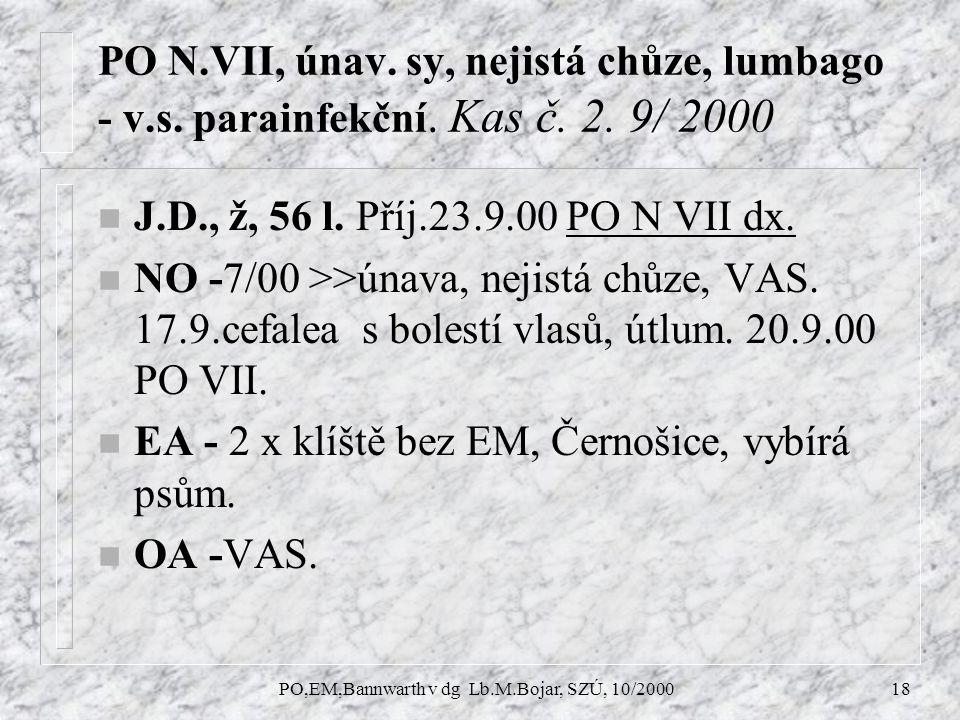 PO,EM,Bannwarth v dg Lb.M.Bojar, SZÚ, 10/200018 PO N.VII, únav.
