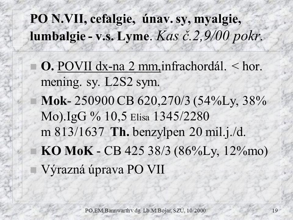 PO,EM,Bannwarth v dg Lb.M.Bojar, SZÚ, 10/200019 PO N.VII, cefalgie, únav.