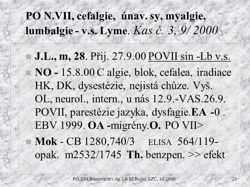 PO,EM,Bannwarth v dg Lb.M.Bojar, SZÚ, 10/200020 PO N.VII, cefalgie, únav.