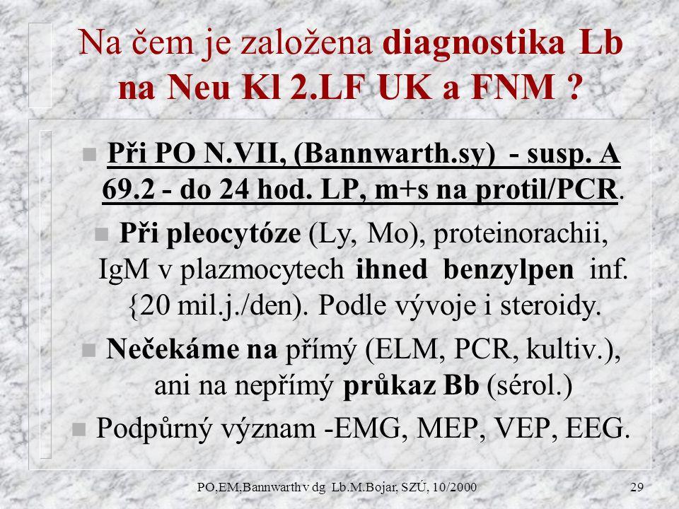 PO,EM,Bannwarth v dg Lb.M.Bojar, SZÚ, 10/200029 Na čem je založena diagnostika Lb na Neu Kl 2.LF UK a FNM .