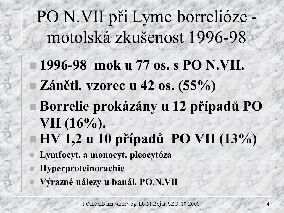 PO,EM,Bannwarth v dg Lb.M.Bojar, SZÚ, 10/20004 PO N.VII při Lyme borrelióze - motolská zkušenost 1996-98 n 1996-98 mok u 77 os.