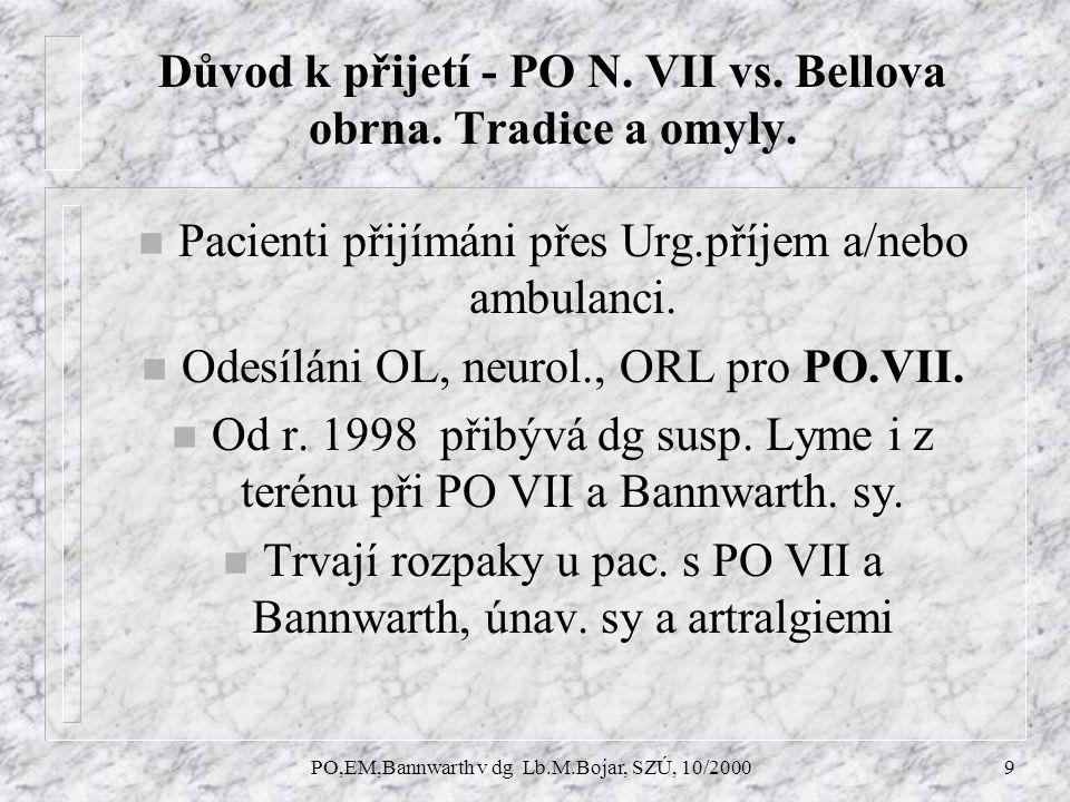 PO,EM,Bannwarth v dg Lb.M.Bojar, SZÚ, 10/20009 Důvod k přijetí - PO N.