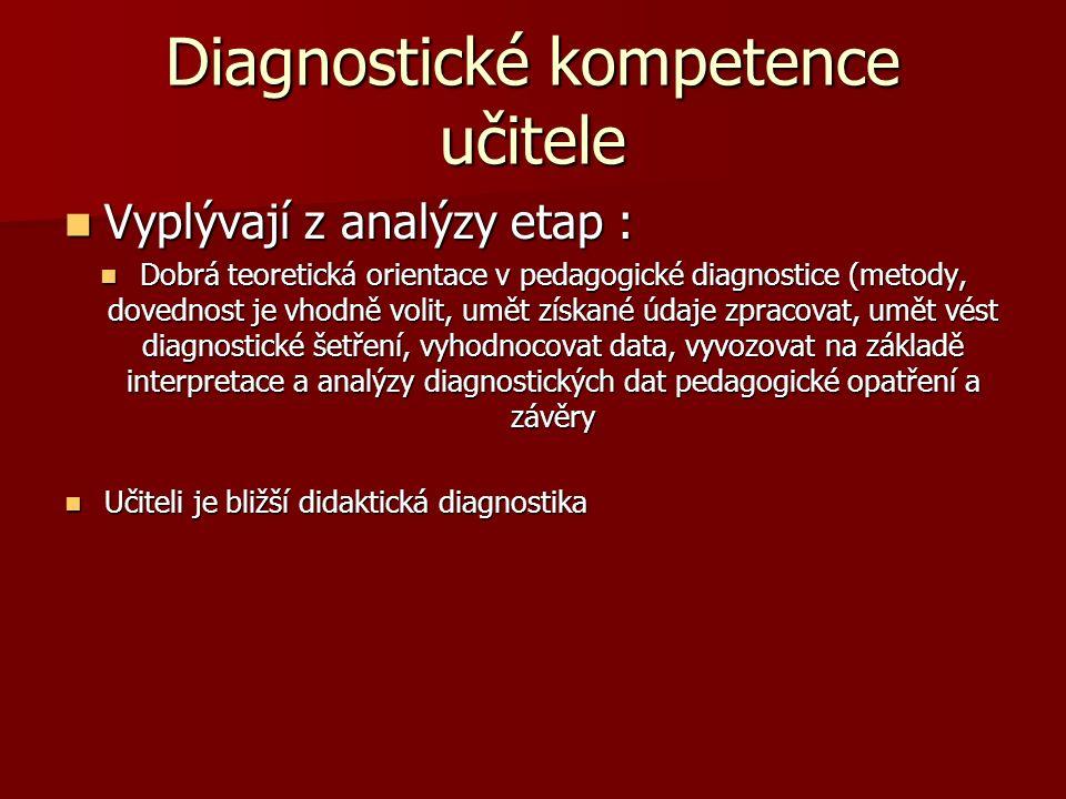 Diagnostické kompetence učitele Vyplývají z analýzy etap : Vyplývají z analýzy etap : Dobrá teoretická orientace v pedagogické diagnostice (metody, dovednost je vhodně volit, umět získané údaje zpracovat, umět vést diagnostické šetření, vyhodnocovat data, vyvozovat na základě interpretace a analýzy diagnostických dat pedagogické opatření a závěry Dobrá teoretická orientace v pedagogické diagnostice (metody, dovednost je vhodně volit, umět získané údaje zpracovat, umět vést diagnostické šetření, vyhodnocovat data, vyvozovat na základě interpretace a analýzy diagnostických dat pedagogické opatření a závěry Učiteli je bližší didaktická diagnostika Učiteli je bližší didaktická diagnostika