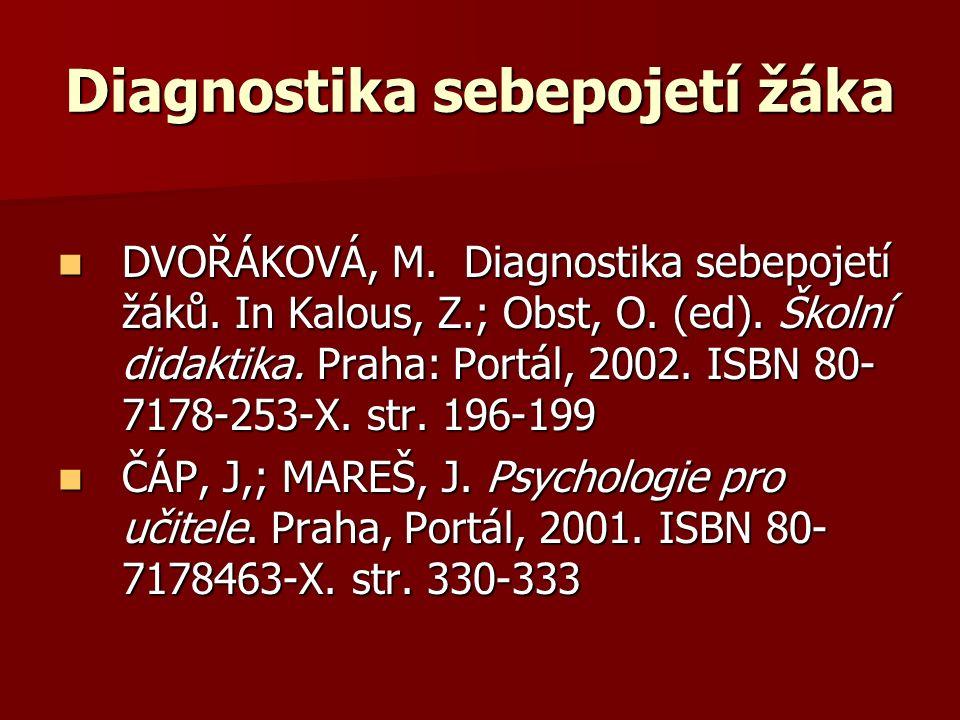 Diagnostika sebepojetí žáka DVOŘÁKOVÁ, M. Diagnostika sebepojetí žáků. In Kalous, Z.; Obst, O. (ed). Školní didaktika. Praha: Portál, 2002. ISBN 80- 7