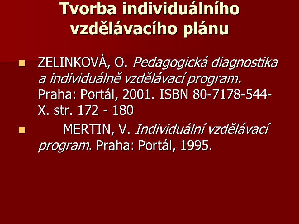 Tvorba individuálního vzdělávacího plánu ZELINKOVÁ, O. Pedagogická diagnostika a individuálně vzdělávací program. Praha: Portál, 2001. ISBN 80-7178-54