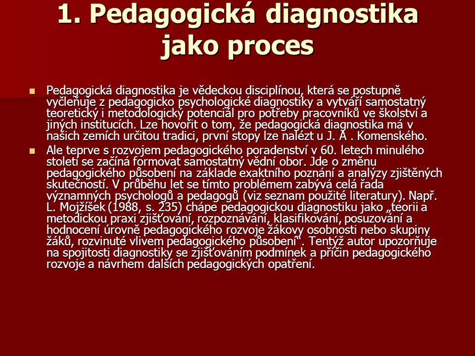 Pedagogická diagnostika Pedagogická diagnostika = speciálně pedagogická disciplína, která se zabývá objektivním zjišťováním, posuzováním a hodnocením vnějších a vnitřních podmínek i průběhu a výsledků výchovně vzdělávacího procesu.