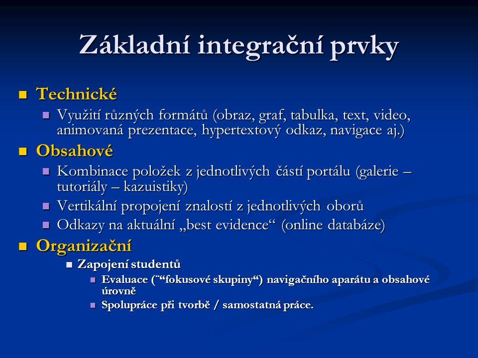 """Základní integrační prvky Technické Technické Využití různých formátů (obraz, graf, tabulka, text, video, animovaná prezentace, hypertextový odkaz, navigace aj.) Využití různých formátů (obraz, graf, tabulka, text, video, animovaná prezentace, hypertextový odkaz, navigace aj.) Obsahové Obsahové Kombinace položek z jednotlivých částí portálu (galerie – tutoriály – kazuistiky) Kombinace položek z jednotlivých částí portálu (galerie – tutoriály – kazuistiky) Vertikální propojení znalostí z jednotlivých oborů Vertikální propojení znalostí z jednotlivých oborů Odkazy na aktuální """"best evidence (online databáze) Odkazy na aktuální """"best evidence (online databáze) Organizační Organizační Zapojení studentů Zapojení studentů Evaluace (¨ fokusové skupiny ) navigačního aparátu a obsahové úrovně Evaluace (¨ fokusové skupiny ) navigačního aparátu a obsahové úrovně Spolupráce při tvorbě / samostatná práce."""