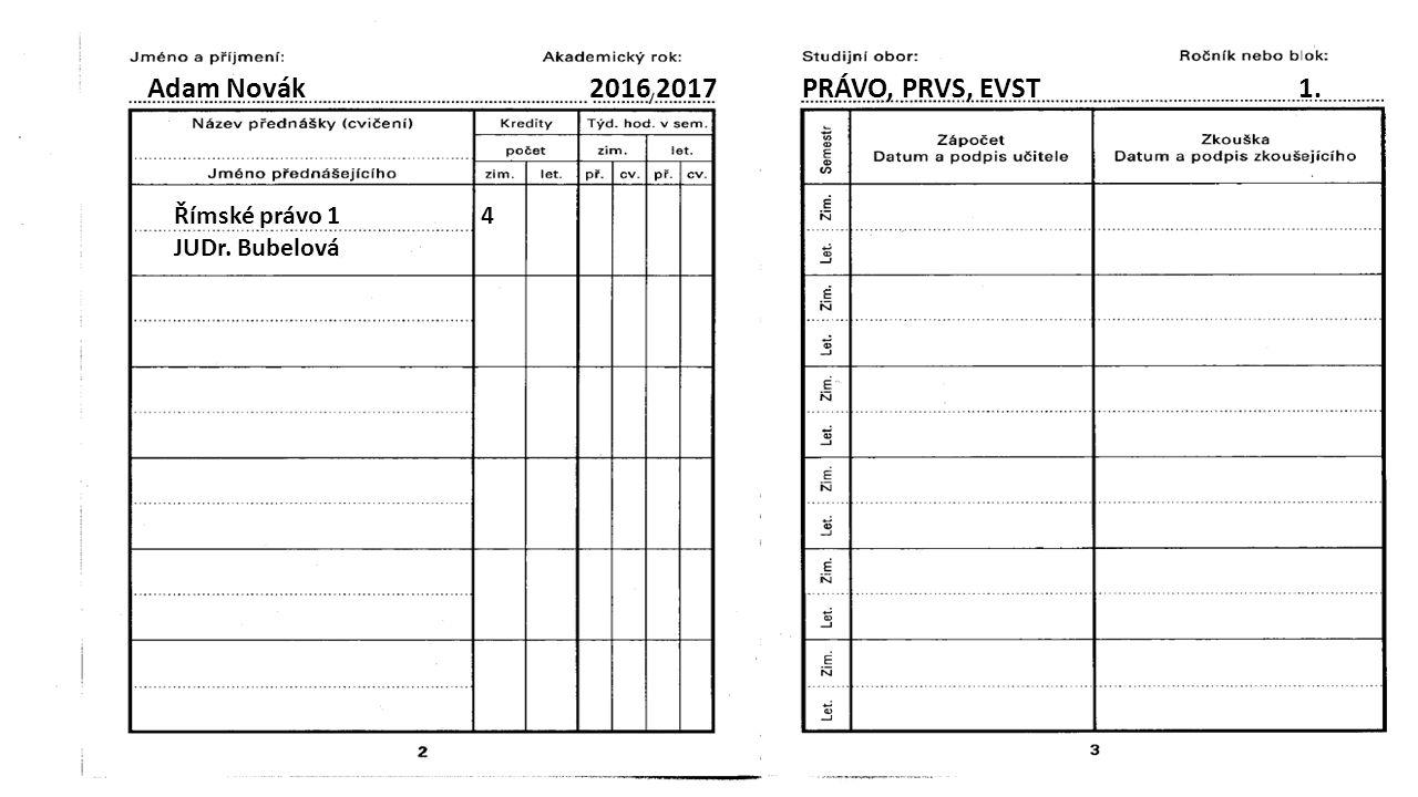 Adam Novák 2016 2017 PRÁVO, PRVS, EVST 1. Římské právo 1 4 JUDr. Bubelová