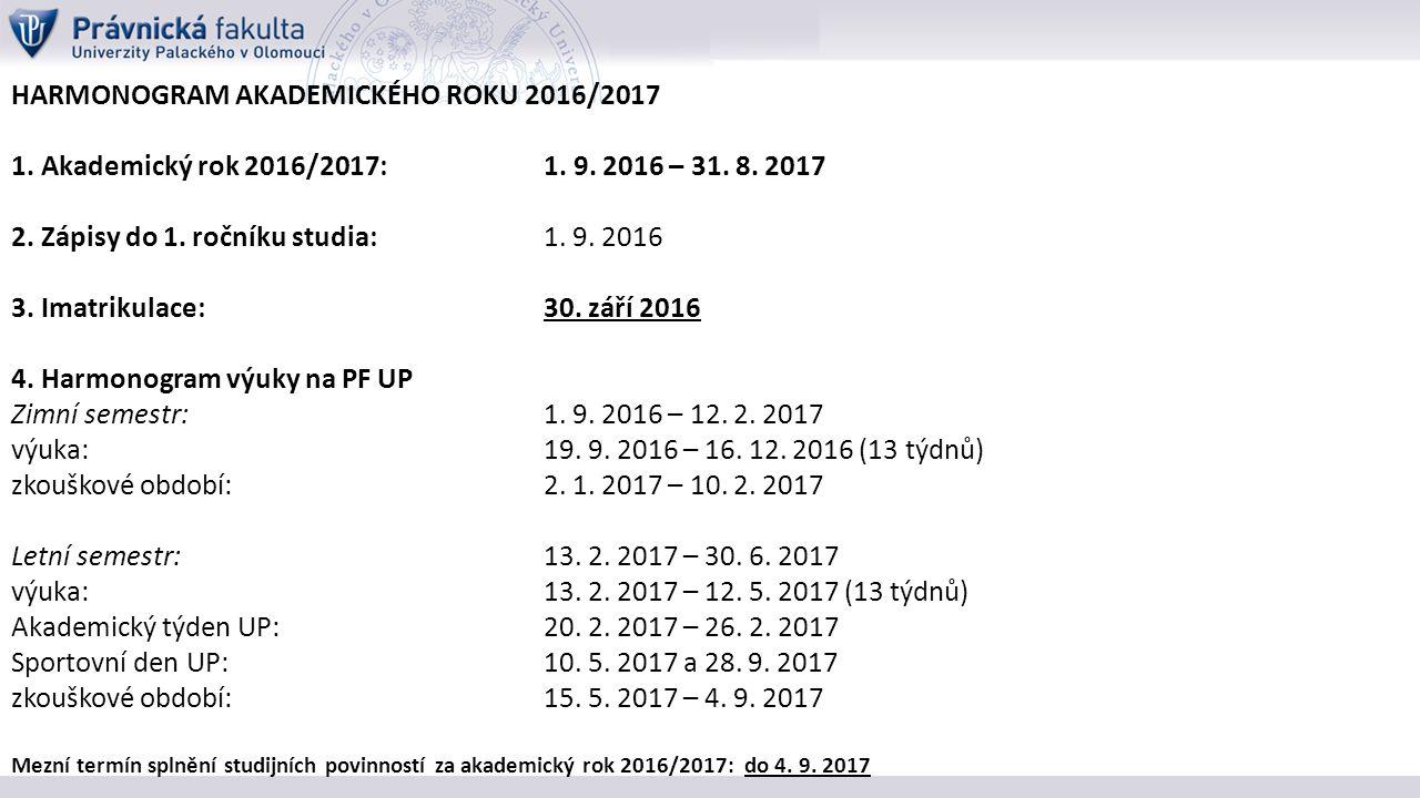 HARMONOGRAM AKADEMICKÉHO ROKU 2016/2017 1. Akademický rok 2016/2017:1.