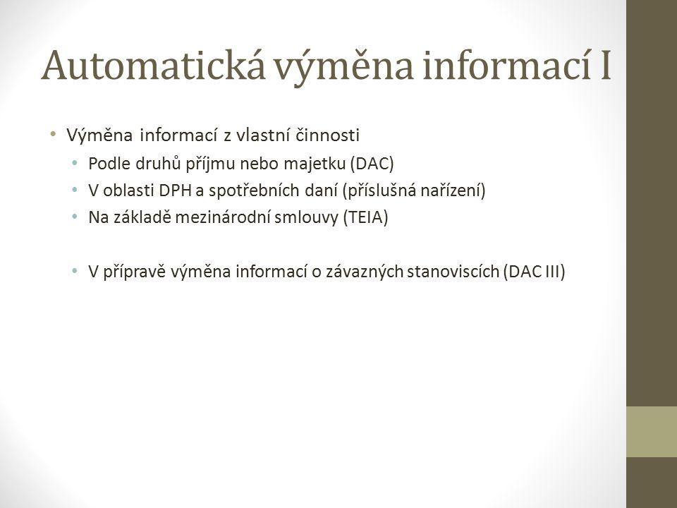 Automatická výměna informací I Výměna informací z vlastní činnosti Podle druhů příjmu nebo majetku (DAC) V oblasti DPH a spotřebních daní (příslušná nařízení) Na základě mezinárodní smlouvy (TEIA) V přípravě výměna informací o závazných stanoviscích (DAC III)