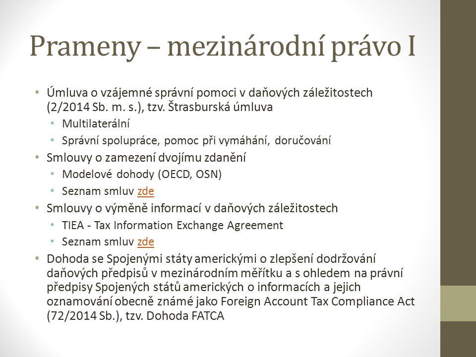 Prameny – mezinárodní právo I Úmluva o vzájemné správní pomoci v daňových záležitostech (2/2014 Sb.