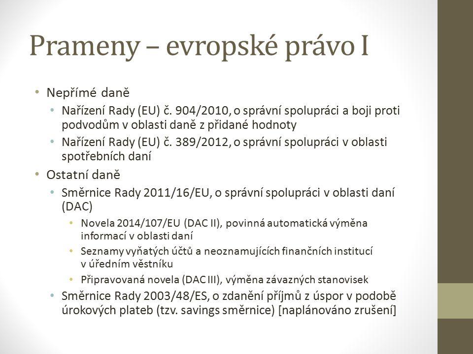 Prameny – evropské právo I Nepřímé daně Nařízení Rady (EU) č.