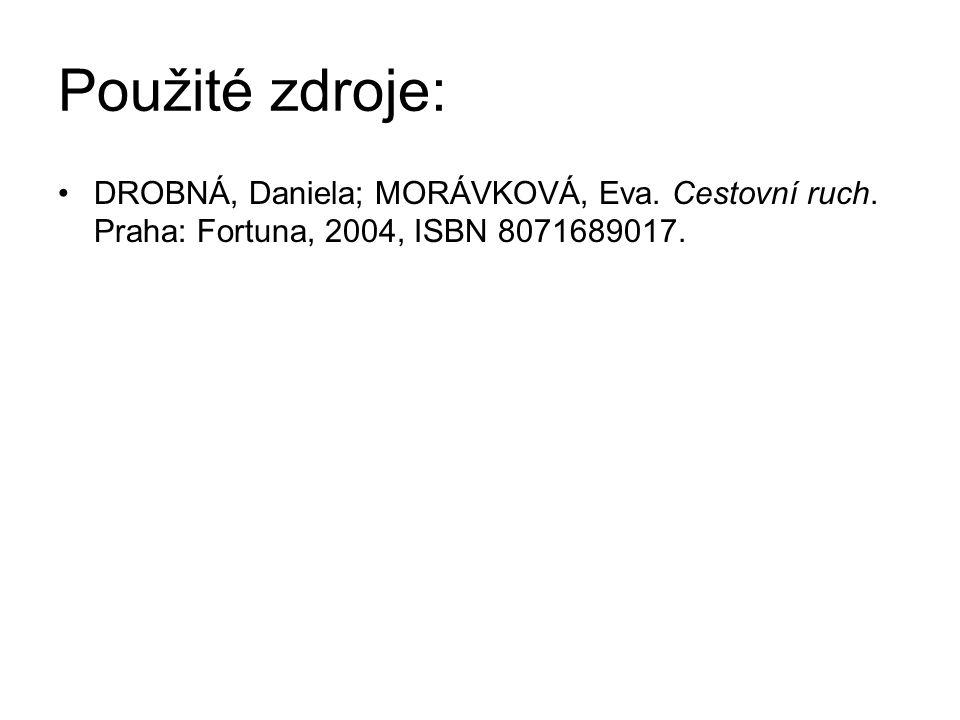 Použité zdroje: DROBNÁ, Daniela; MORÁVKOVÁ, Eva. Cestovní ruch.