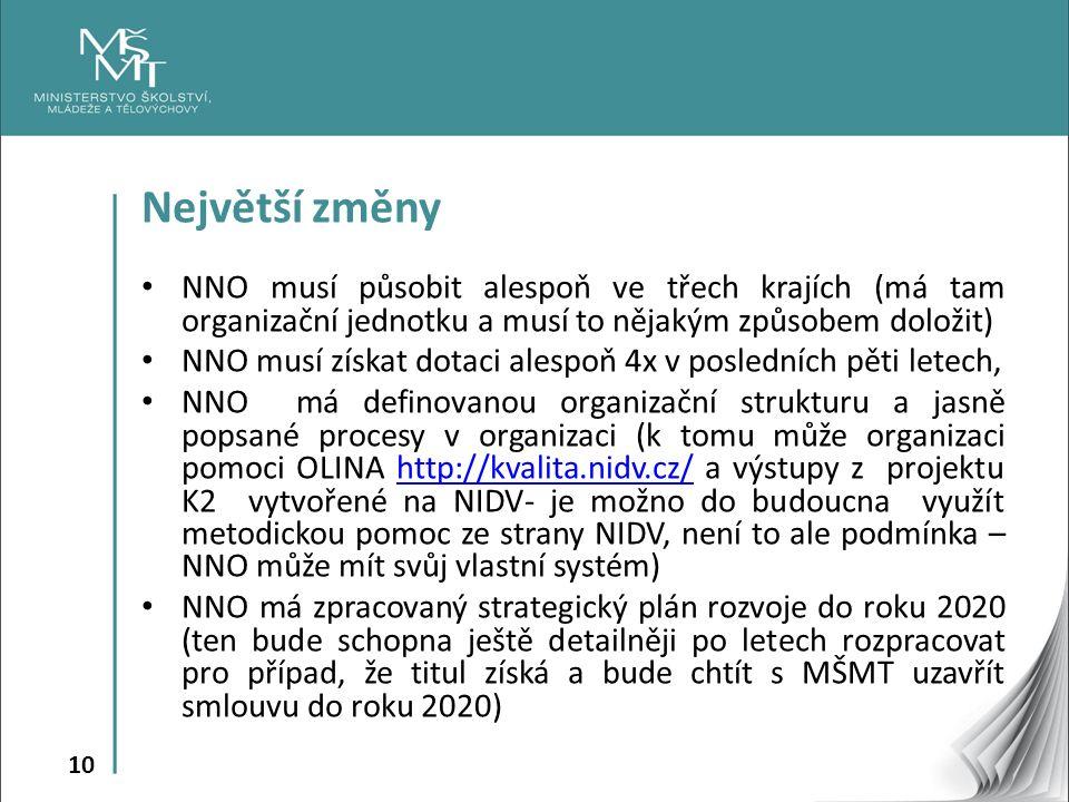 10 Největší změny NNO musí působit alespoň ve třech krajích (má tam organizační jednotku a musí to nějakým způsobem doložit) NNO musí získat dotaci al