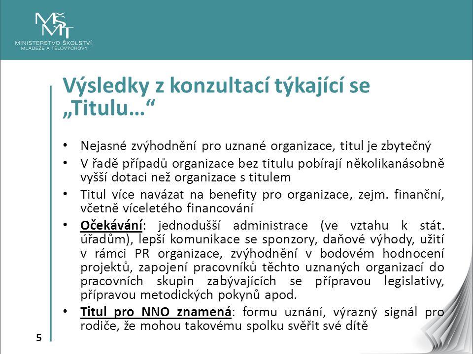 6 Titul NNO uznané MŠMT po práci s dětmi a mládeží Cíl: Vybrat a prověřit NNO pracující s dětmi a mládeží s významným dopadem, jejichž činnost je opakovaně podporována ze strany MŠMT, a podpořit jejich kontinuální práci s víceletým přesahem, zjednodušit administrativu při žádání o dotaci a zapojit je více do naplňování Koncepce podpory mládeže na období 2014- 2020.
