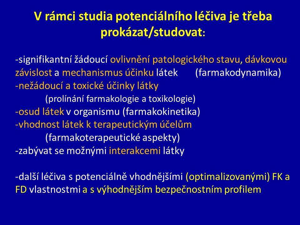V rámci studia potenciálního léčiva je třeba prokázat/studovat : -signifikantní žádoucí ovlivnění patologického stavu, dávkovou závislost a mechanismu