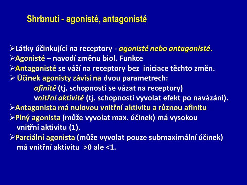   Látky účinkující na receptory - agonisté nebo antagonisté.  Agonisté – navodí změnu biol. Funkce  Antagonisté se váží na receptory bez iniciace