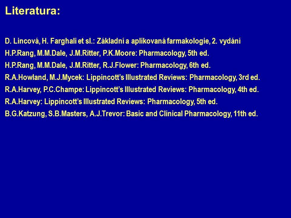 Literatura: D. Lincová, H. Farghali et sl.: Základní a aplikovaná farmakologie, 2. vydání H.P.Rang, M.M.Dale, J.M.Ritter, P.K.Moore: Pharmacology, 5th