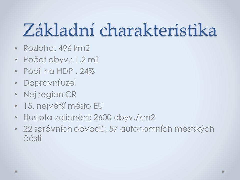 Základní charakteristika Rozloha: 496 km2 Počet obyv.: 1,2 mil Podíl na HDP. 24% Dopravní uzel Nej region CR 15. největší město EU Hustota zalidnění:
