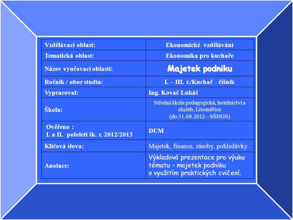 Vzdělávací oblast:Ekonomické vzdělávání Tematická oblast:Ekonomika pro kuchaře Název vyučovací oblasti: Majetek podniku Ročník / obor studia:I.