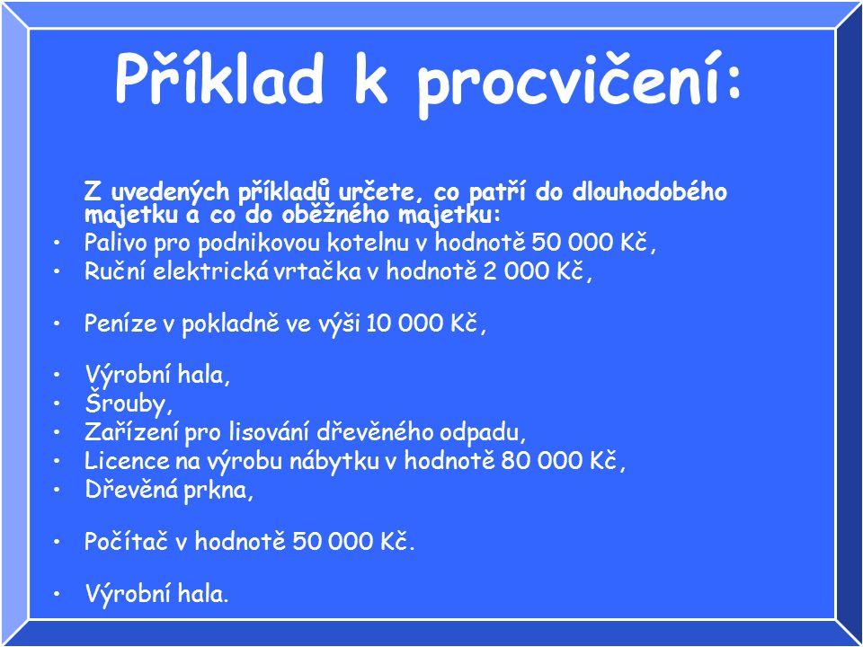 Příklad k procvičení: Z uvedených příkladů určete, co patří do dlouhodobého majetku a co do oběžného majetku: Palivo pro podnikovou kotelnu v hodnotě 50 000 Kč, Ruční elektrická vrtačka v hodnotě 2 000 Kč, Peníze v pokladně ve výši 10 000 Kč, Výrobní hala, Šrouby, Zařízení pro lisování dřevěného odpadu, Licence na výrobu nábytku v hodnotě 80 000 Kč, Dřevěná prkna, Počítač v hodnotě 50 000 Kč.