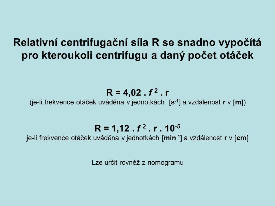 Relativní centrifugační síla R se snadno vypočítá pro kteroukoli centrifugu a daný počet otáček R = 4,02. f 2. r (je-li frekvence otáček uváděna v jed
