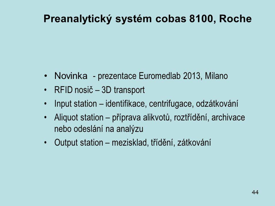 44 Preanalytický systém cobas 8100, Roche Novinka - prezentace Euromedlab 2013, Milano RFID nosič – 3D transport Input station – identifikace, centrifugace, odzátkování Aliquot station – příprava alikvotů, roztřídění, archivace nebo odeslání na analýzu Output station – mezisklad, třídění, zátkování