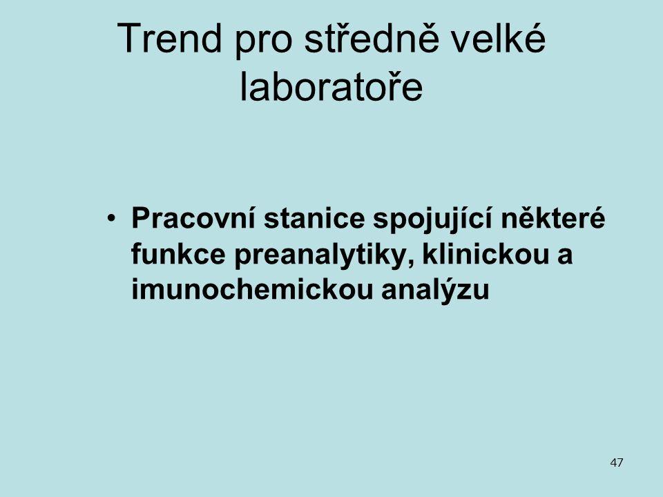 Trend pro středně velké laboratoře Pracovní stanice spojující některé funkce preanalytiky, klinickou a imunochemickou analýzu 47