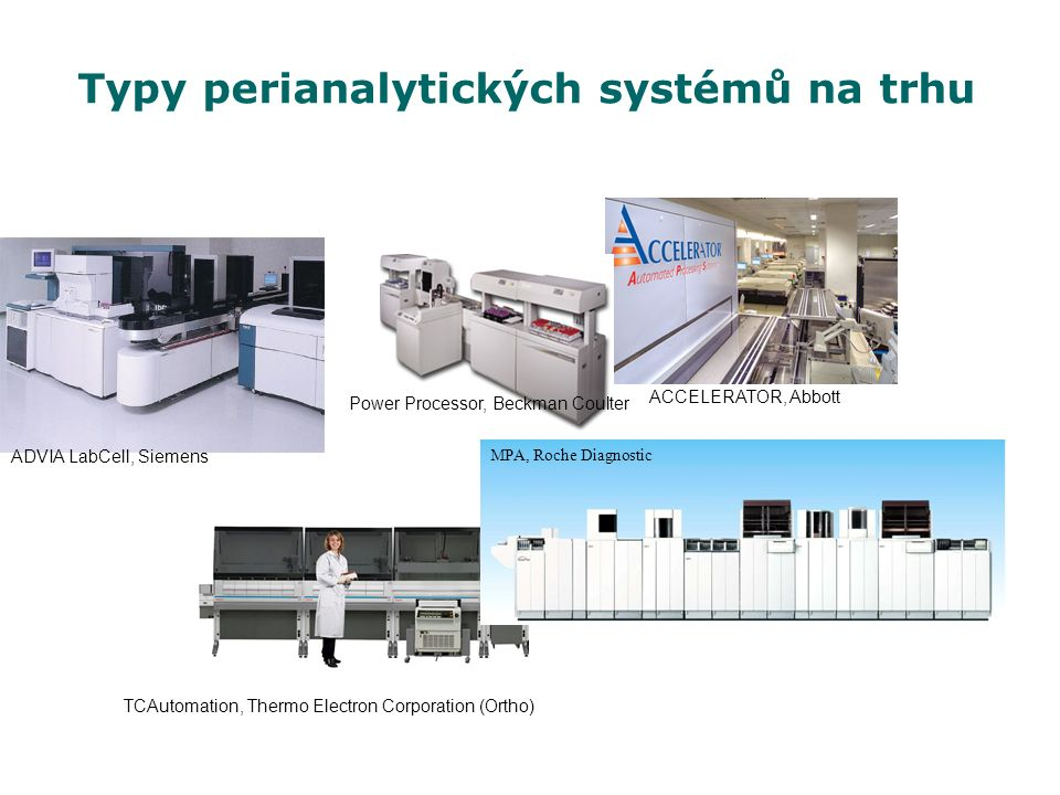 Typy perianalytických systémů na trhu MPA, Roche Diagnostic ADVIA LabCell, Siemens Power Processor, Beckman Coulter TCAutomation, Thermo Electron Corporation (Ortho) ACCELERATOR, Abbott