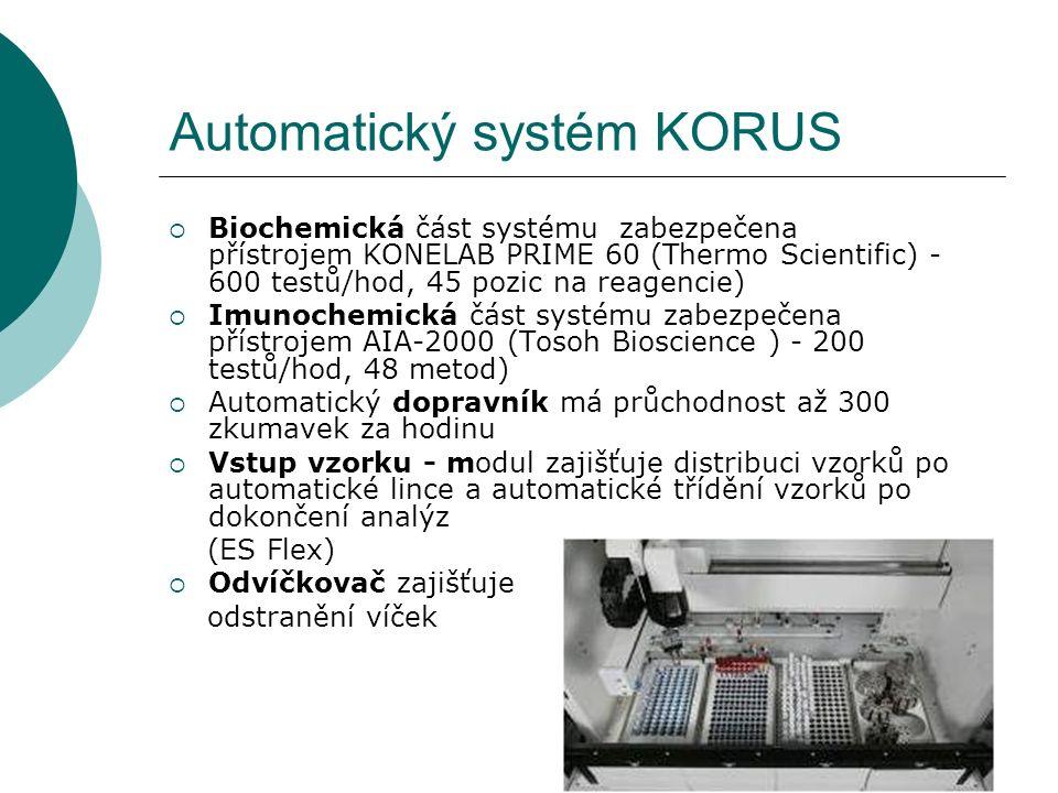 18 Automatický systém KORUS  Biochemická část systému zabezpečena přístrojem KONELAB PRIME 60 (Thermo Scientific) - 600 testů/hod, 45 pozic na reagencie)  Imunochemická část systému zabezpečena přístrojem AIA-2000 (Tosoh Bioscience ) - 200 testů/hod, 48 metod)  Automatický dopravník má průchodnost až 300 zkumavek za hodinu  Vstup vzorku - modul zajišťuje distribuci vzorků po automatické lince a automatické třídění vzorků po dokončení analýz (ES Flex)  Odvíčkovač zajišťuje odstranění víček