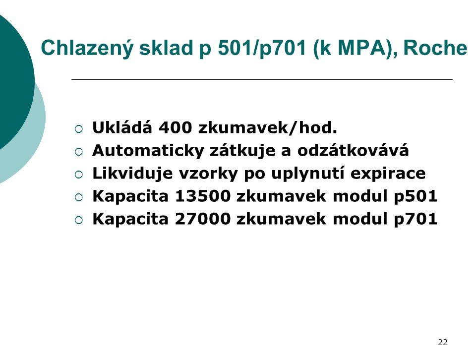 22 Chlazený sklad p 501/p701 (k MPA), Roche  Ukládá 400 zkumavek/hod.
