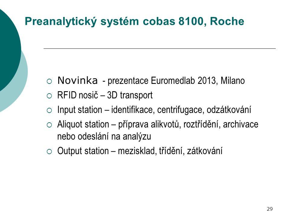 29 Preanalytický systém cobas 8100, Roche  Novinka - prezentace Euromedlab 2013, Milano  RFID nosič – 3D transport  Input station – identifikace, centrifugace, odzátkování  Aliquot station – příprava alikvotů, roztřídění, archivace nebo odeslání na analýzu  Output station – mezisklad, třídění, zátkování