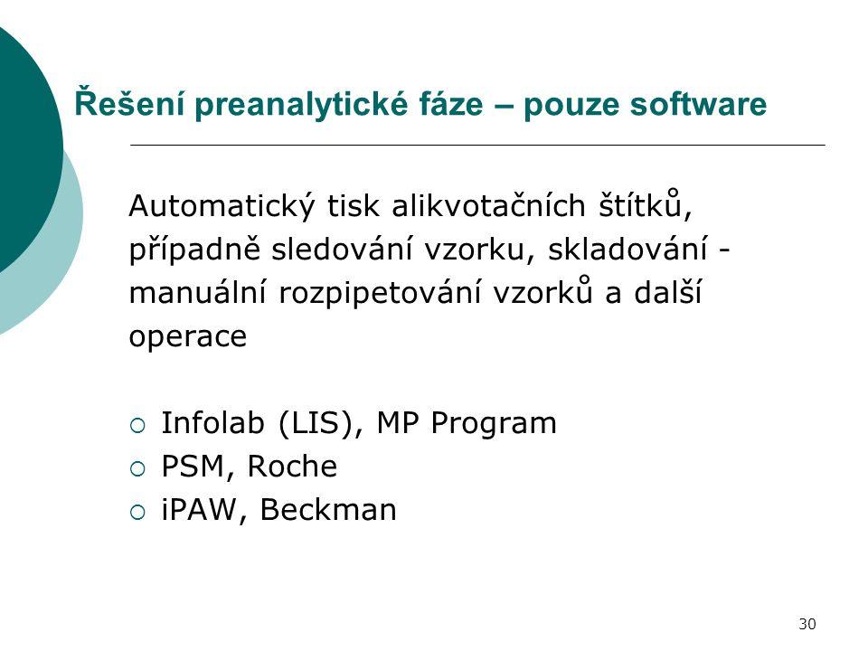 30 Řešení preanalytické fáze – pouze software Automatický tisk alikvotačních štítků, případně sledování vzorku, skladování - manuální rozpipetování vzorků a další operace  Infolab (LIS), MP Program  PSM, Roche  iPAW, Beckman