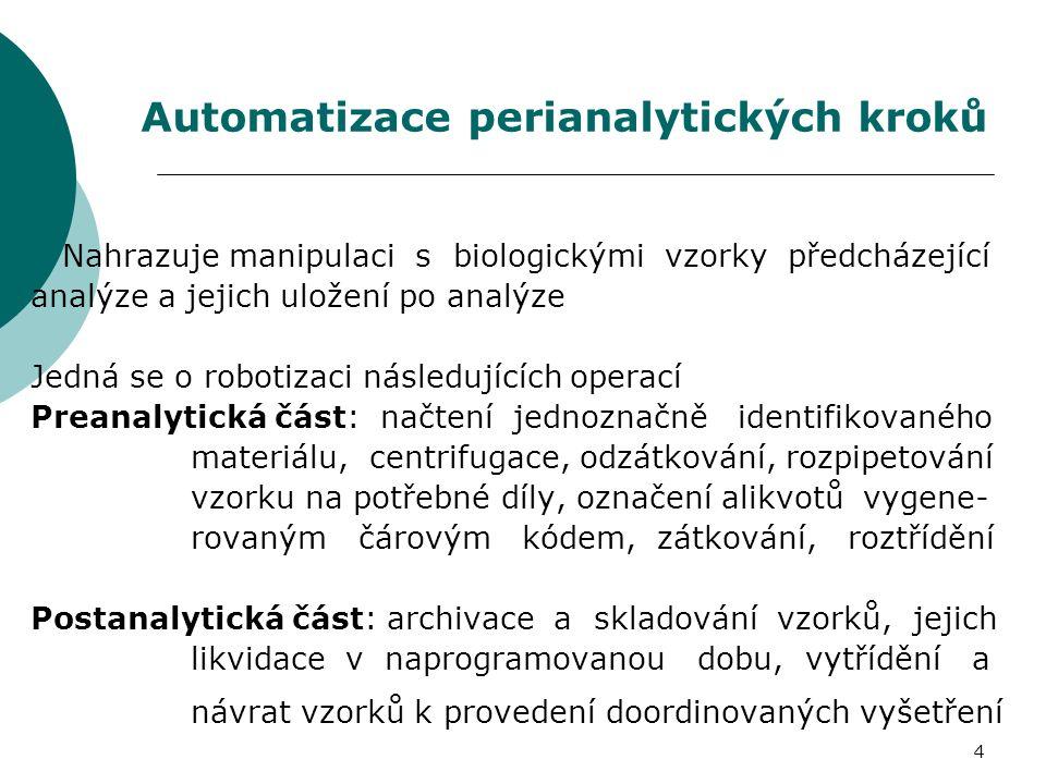 CílCíl Ú čelPopis 1HIT917/Modular ServicePodnos 1, Segment 1 2AASPodnos 1, Segment 2 3OSMOL (osmometr) Podnos 1, Segment 2 4SPEC (Speciální úsek) Podnos 1, Segment 2 5ARCH (Architect) Podnos 2, Segment 3 6IMMUL (Immulite) Podnos 2, Segment 3 7T-MARK (tumorové markery) Podnos 2, Segment 3 8IMUNO (Imunochemický úsek) Podnos 2, Segment 3 9ELEC (Elecsys) Podnos 2, Segment 3 10COBAS (Cobas Mira) Podnos 2, Segment 4 11VNE (elektroforéza) Podnos 2, Segment 4 12PROT (Úsek proteiny) Podnos 2, Segment 4 13IMMAGEPodnos 2, Segment 4 14Arch í v zkumavky 13 a 16 mmPodnos 3, Segment 5 Naprogramování systému, cíle pro třídící modul
