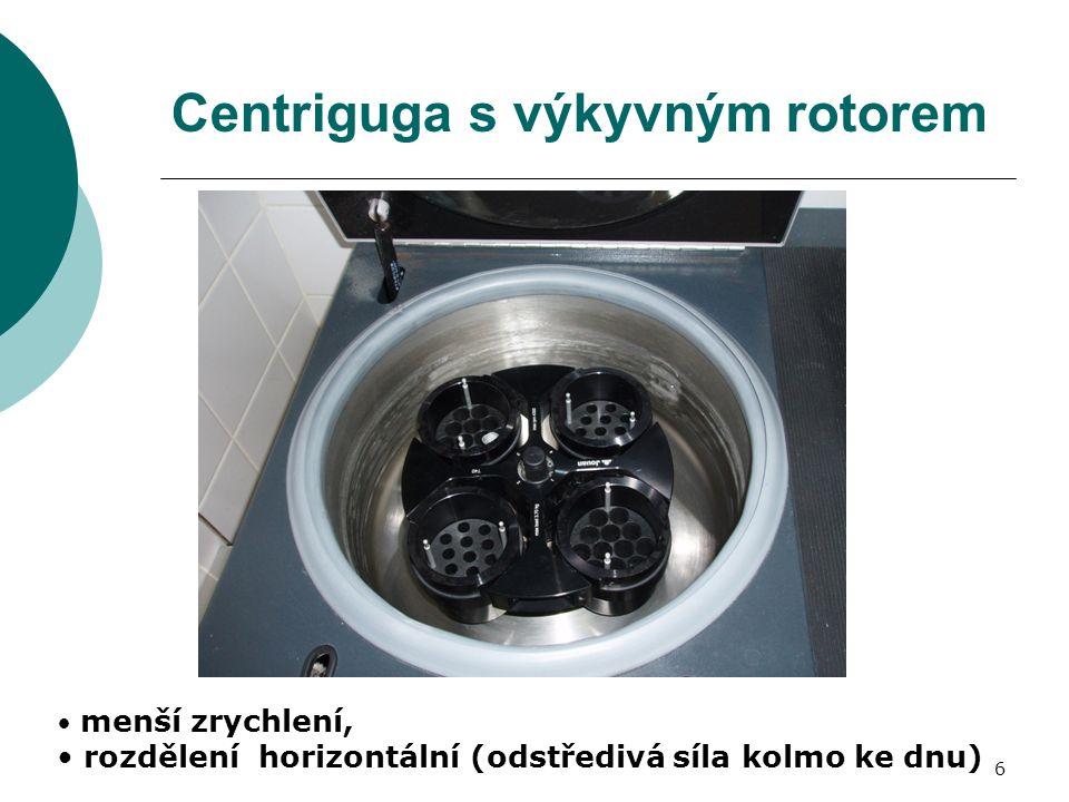 6 Centriguga s výkyvným rotorem menší zrychlení, rozdělení horizontální (odstředivá síla kolmo ke dnu)