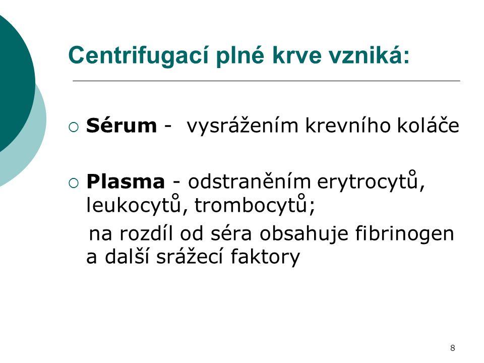 8 Centrifugací plné krve vzniká:  Sérum - vysrážením krevního koláče  Plasma - odstraněním erytrocytů, leukocytů, trombocytů; na rozdíl od séra obsahuje fibrinogen a další srážecí faktory