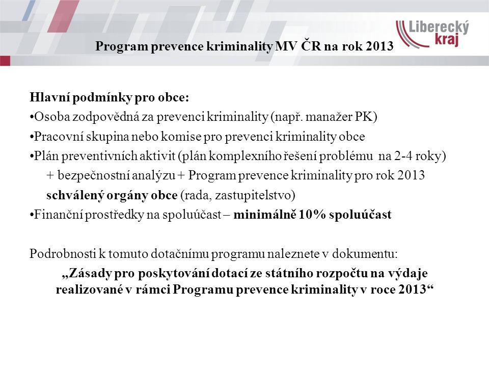 Program prevence kriminality MV ČR na rok 2013 Hlavní podmínky pro obce: Osoba zodpovědná za prevenci kriminality (např.