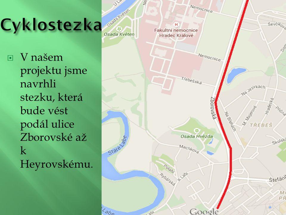  V našem projektu jsme navrhli stezku, která bude vést podál ulice Zborovské až k Heyrovskému.