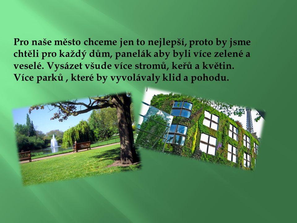 Pro naše město chceme jen to nejlepší, proto by jsme chtěli pro každý dům, panelák aby byli více zelené a veselé.