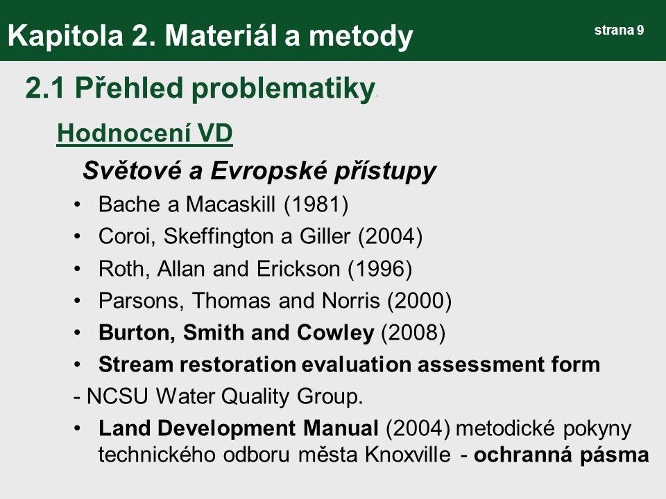 strana 30 Kapitola 3.Výsledky Metodika hodnocení VD 2) Návod pro terénní šetření B.