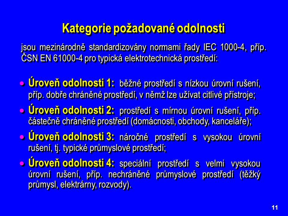 11 Kategorie požadované odolnosti  Úroveň odolnosti 1: běžné prostředí s nízkou úrovní rušení, příp.
