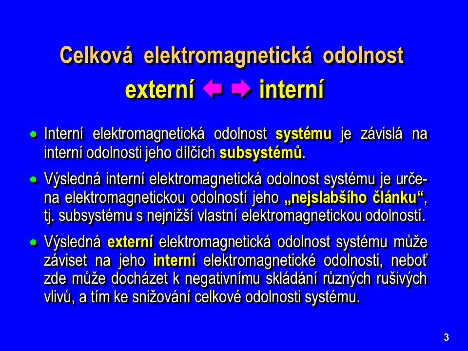 3 Celková elektromagnetická odolnost externí   interní  Interní elektromagnetická odolnost systému je závislá na interní odolnosti jeho dílčích subsystémů.