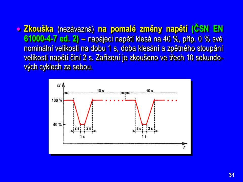 31  Zkouška (nezávazná) na pomalé změny napětí (ČSN EN 61000-4-7 ed.